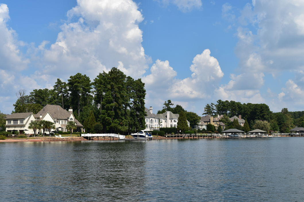 View from the water of watefront homes on Lake Norman in Cornelius, NC.