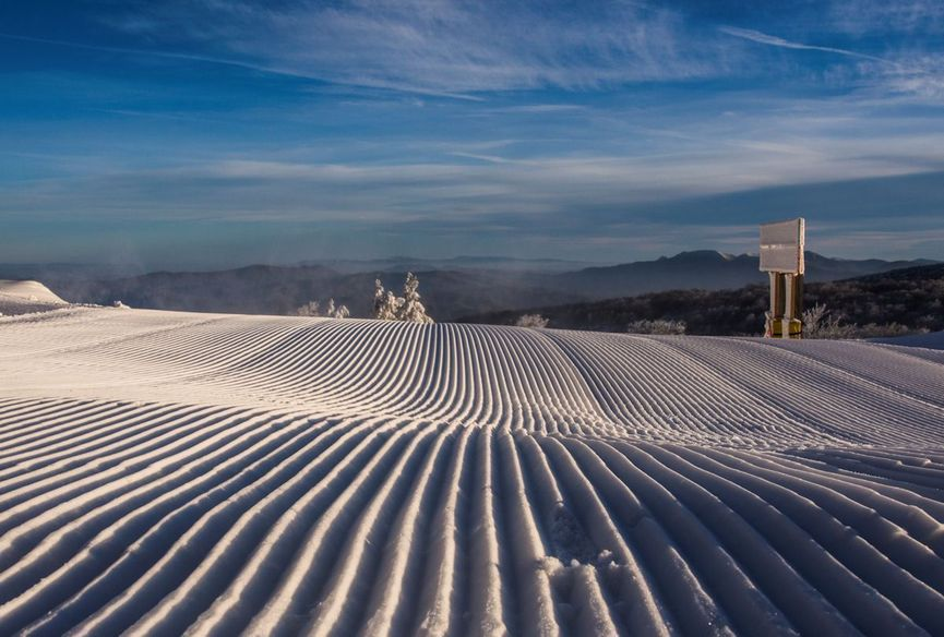 Freshly Groomed Snow Ready for Skiing
