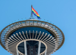 Space Needle with Rainbow Flag on top
