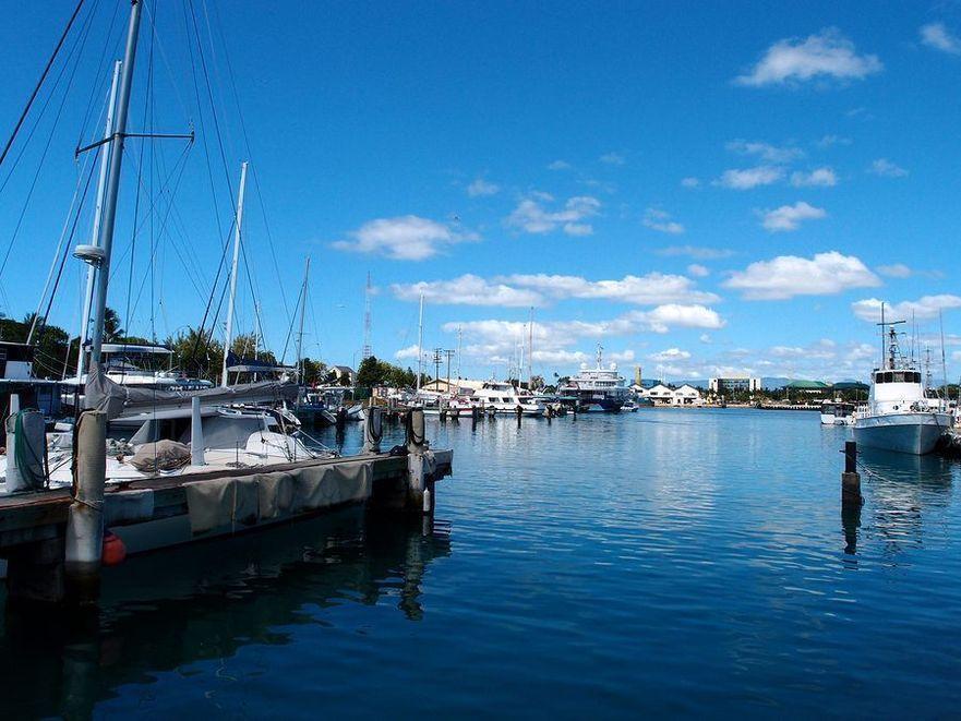 Boats Docked In Kewalo Basin Harbor In Honolulu