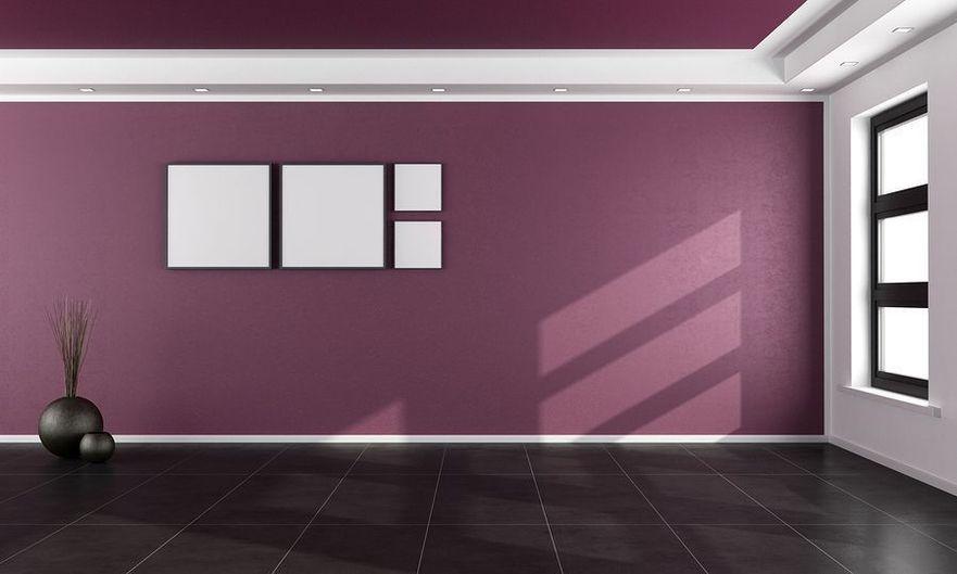empty purple room with black floor and window - rendering