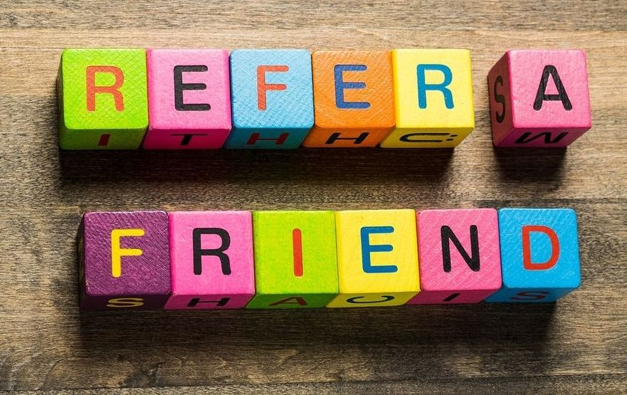 Refer friend website a recommend suggestion hands
