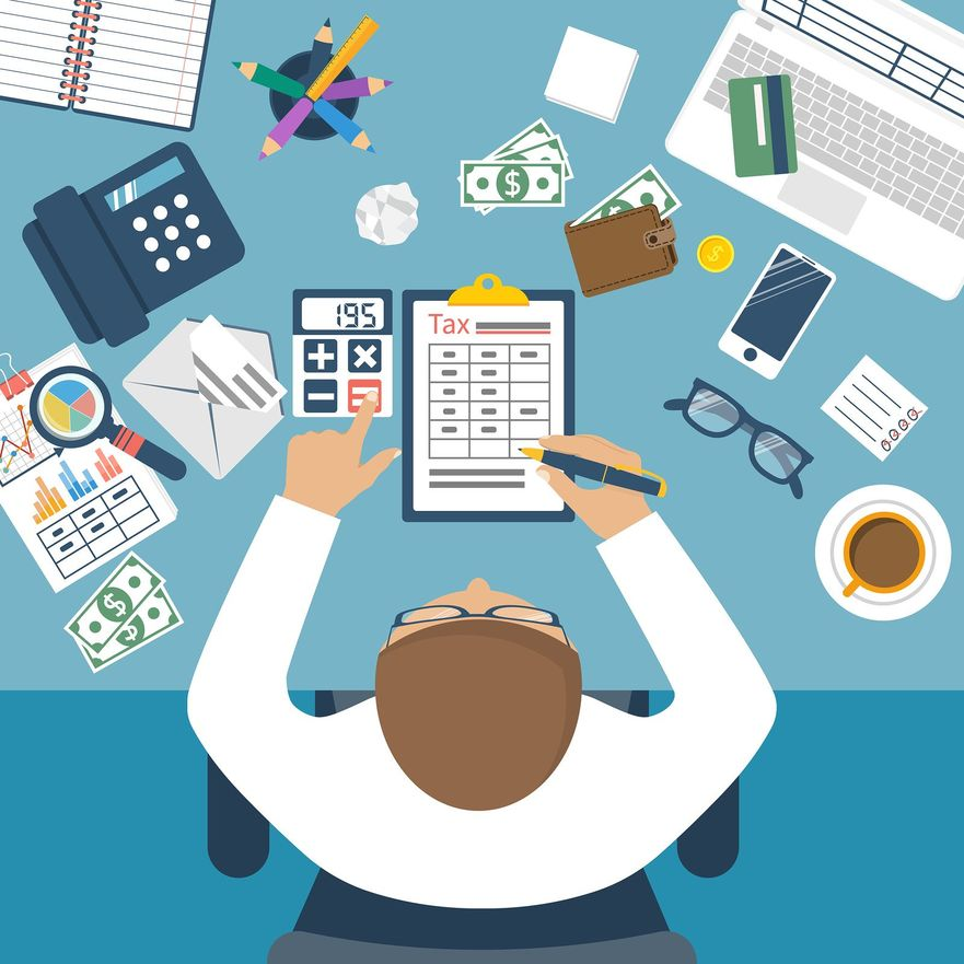 Tax payment. Government taxes. State taxes. Data analysis paperwork financial research report. Businessman calculation tax. Calculation of tax return. Flat design. Tax form vector. Payment of debt.