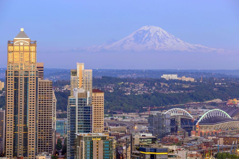 Seattle skyline panorama at sunset as seen from Space Needle Tower Seattle WA