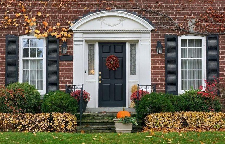 house front door in fall