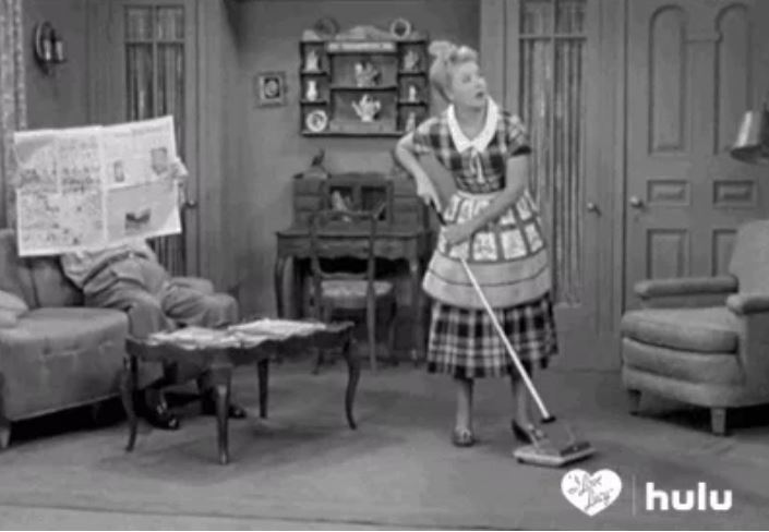 lucy mopping floor