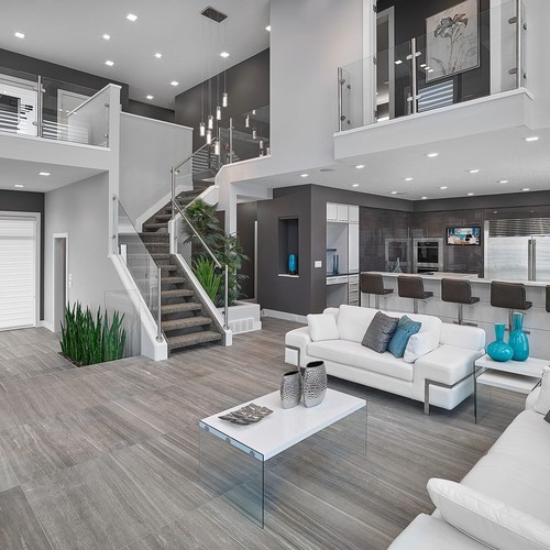 Contemporary gray paint color in this living room