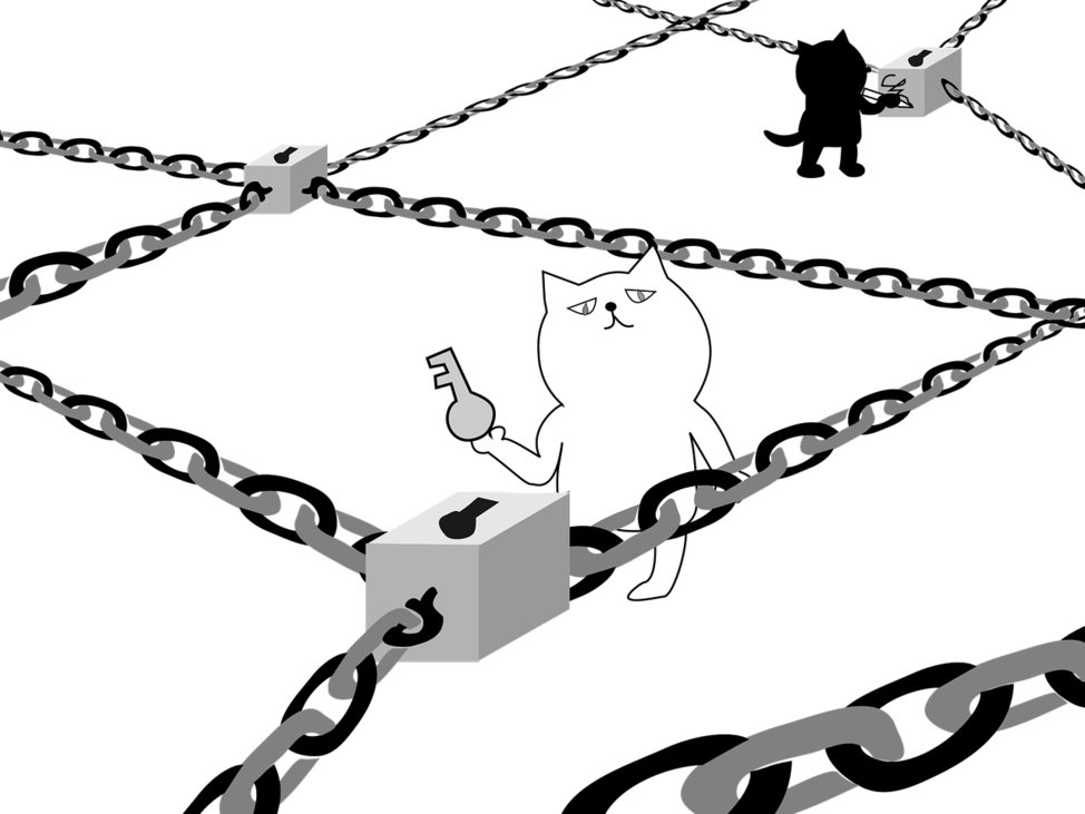 block-chain-with-cats-holding-keys