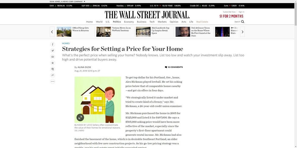 Wall Street Journal home pricing