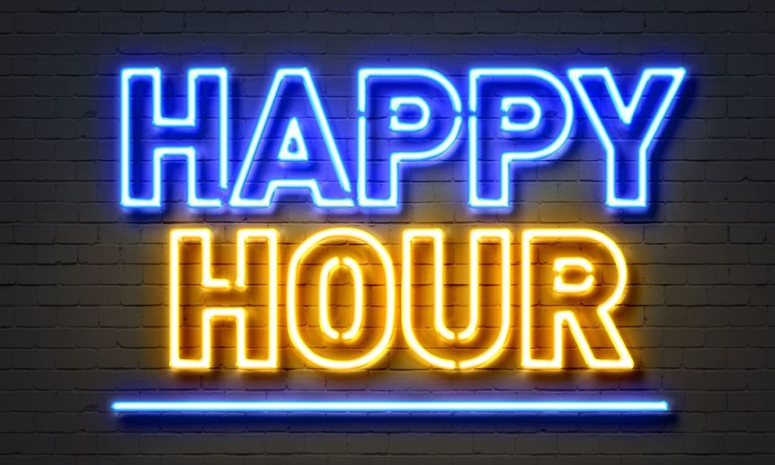 Happy hour neon sign on brick wall background