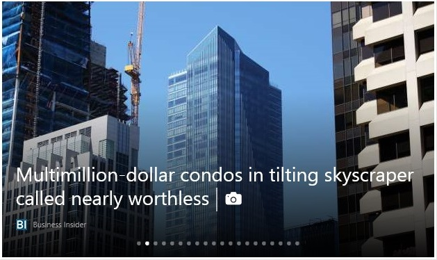 Multimillion-dollar condos in tilting skyscraper called nearly worthless