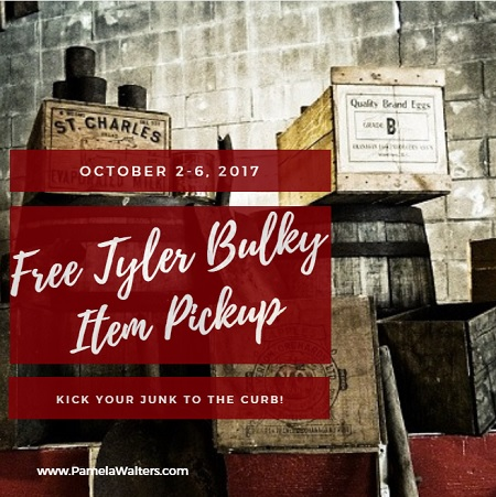 Need to get rid of old paint, tires, furniture or appliances? Kick them to the curb during the free Tyler bulky item pickup event October 2-6, 2017.