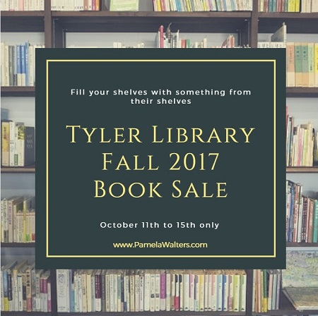 Pick up new reading material at the Tyler Library Fall 2017 Book Sale Oct 11-15 and you'll be helping to replenish book shelves with new stock.