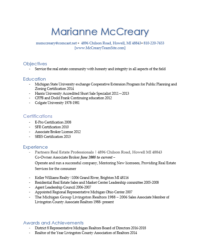 Marianne McCreary Resume Page 1
