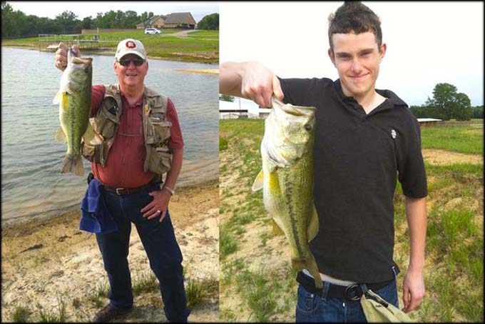 Larry & Lucas with bass from Circle Bar H Ranch lake