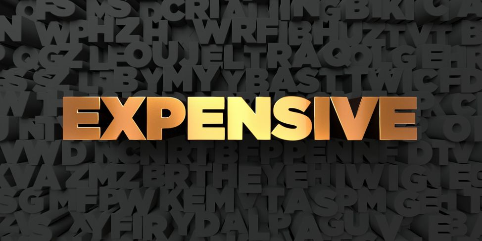 Expensive - Gold text on black background - 3D rendered royalty free stock picture. This image can be used for an online website banner ad or a print postcard.