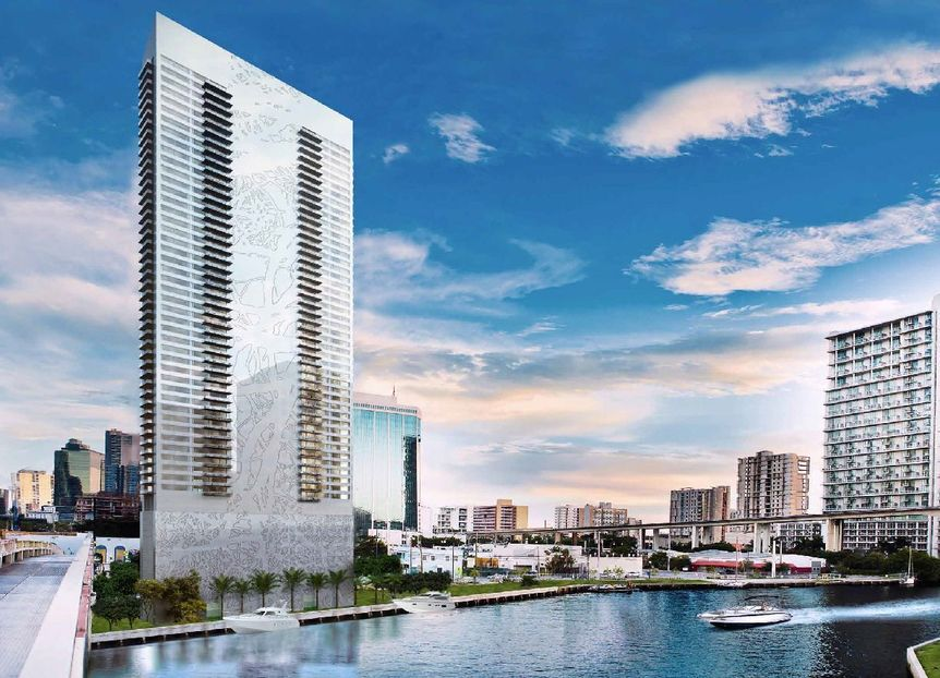 Rendering of the proposed The Edge on Brickell condo tower in Miami, Florida located at 55 SW Miami Avenue Road