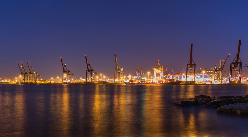 Long Beach port evening view