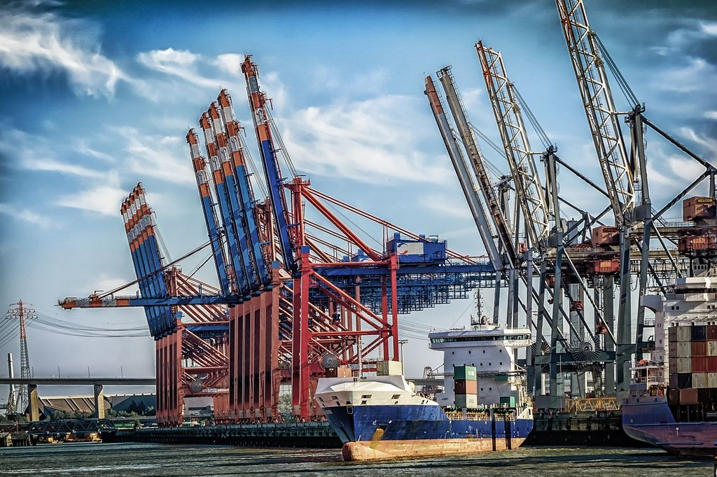 Long Beach Port cranes