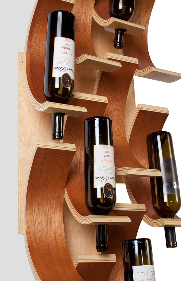 Nadia Anochie Title Wine Rack Medium Bent Ply,Cedar,Steel Hometown Atlanta Ga Dep. Furniture undergrad Prof. John Pierson Winter 2010