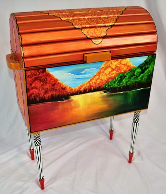 Iridescent Orange Trunk with Hand Painted Mural - Vibrant Life Art Studio