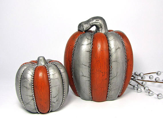 Metallic Silver Pumpkins - The Holiday Corner