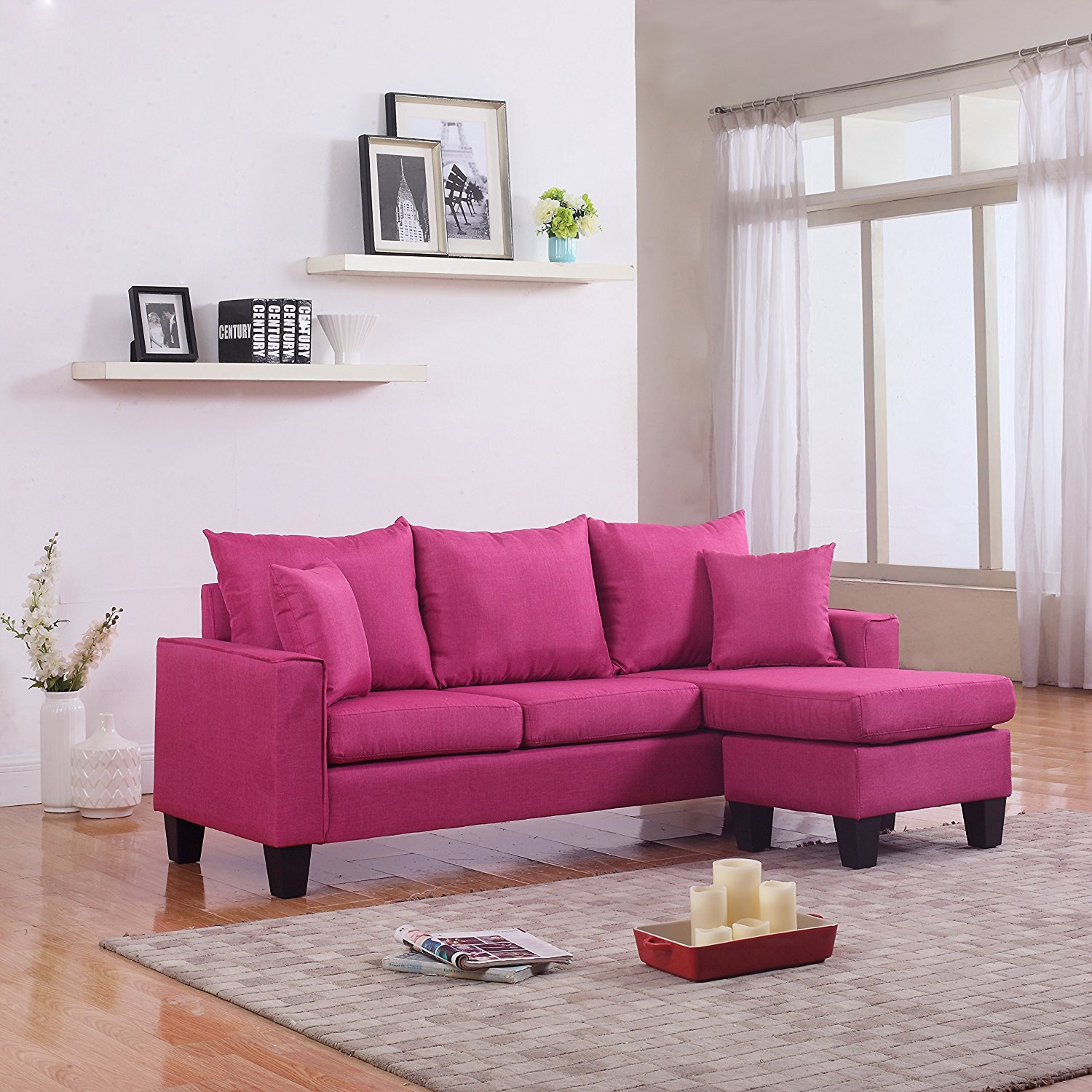 Modern Linen Fabric Sectional Sofa in Rose Red - Divano Roma Furniture