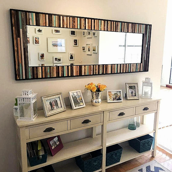 Modern Reclaimed Wood Mirror - Scrap Wood Design