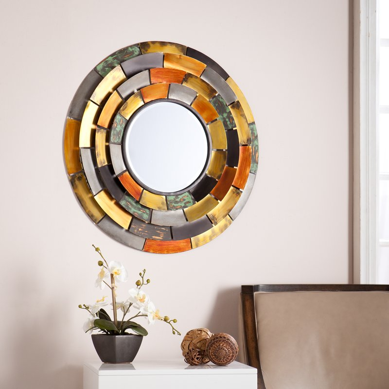 Round Galvanize Metallic Wall Mirror - Latitude Run