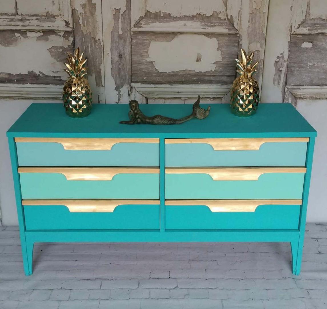 Teal Mid-century Modern Dresser - Tracey's Fancy