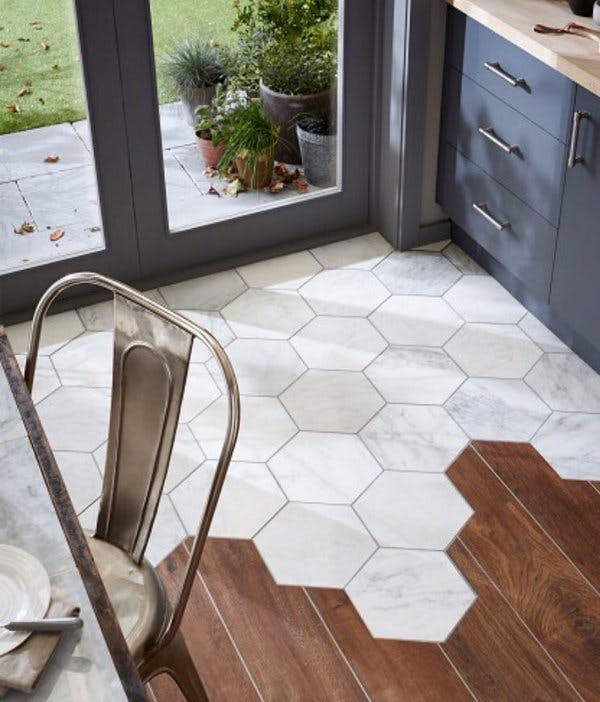 Topps Tiles - Hexagon Tile with Wood Flooring
