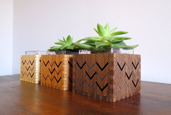 Wood Succulent Holder - Grain Deep