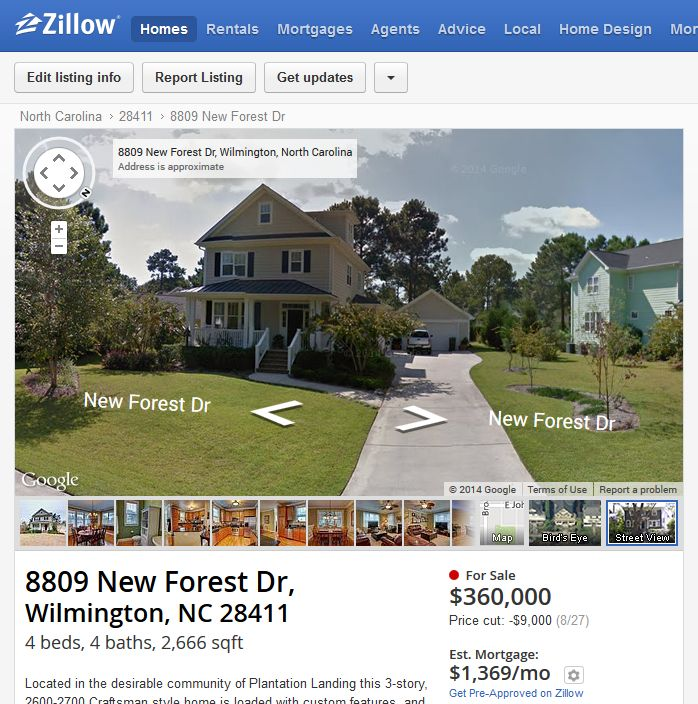 Zillow Street View of New Forest