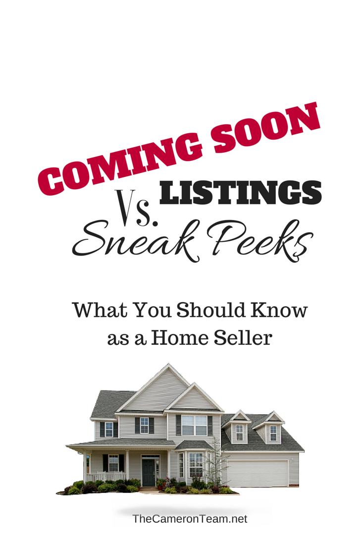 Coming Soon Listings Vs. Sneak Peeks