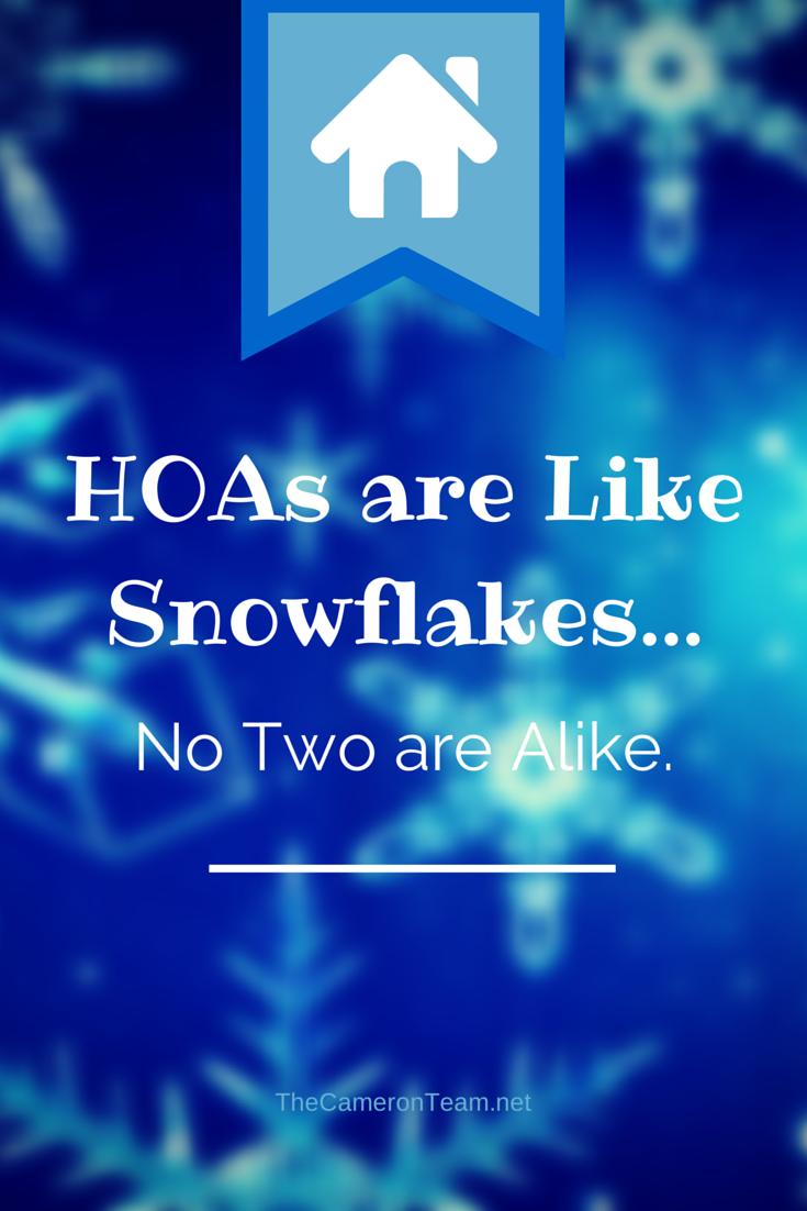 HOAs are Like Snowflakes…