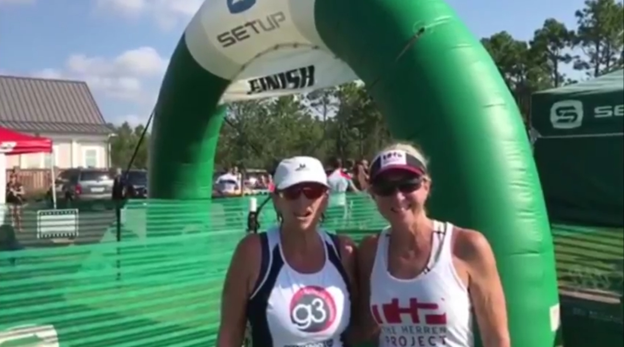 Melanie and Rebecca at Cape Fear 16 at RiverLights Triathlon