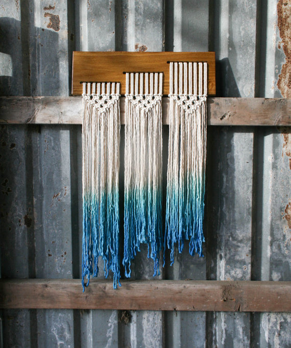 Dip Dyed Blue Macrame Ombre Fringe Wall Hanging - TIEDbyLoretta