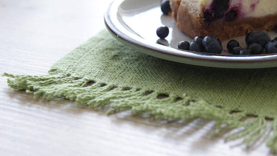 Green Rustic Table Runner with Fringe - LinenSpace
