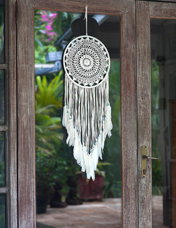 Large White Dream Catcher with Fringe - BohemianTreasureSHOP