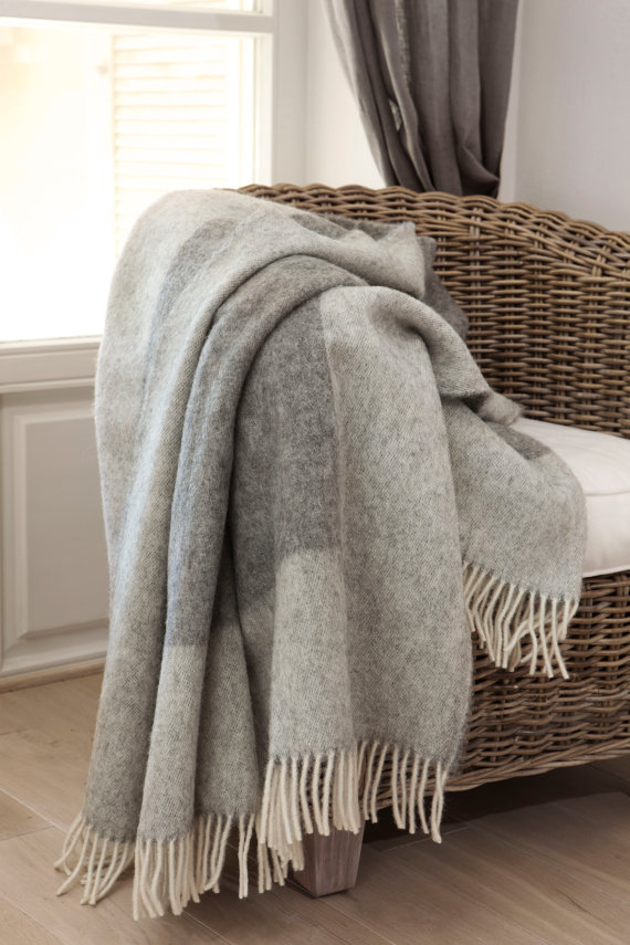 Wool Blanket with Fringe - BOTEH