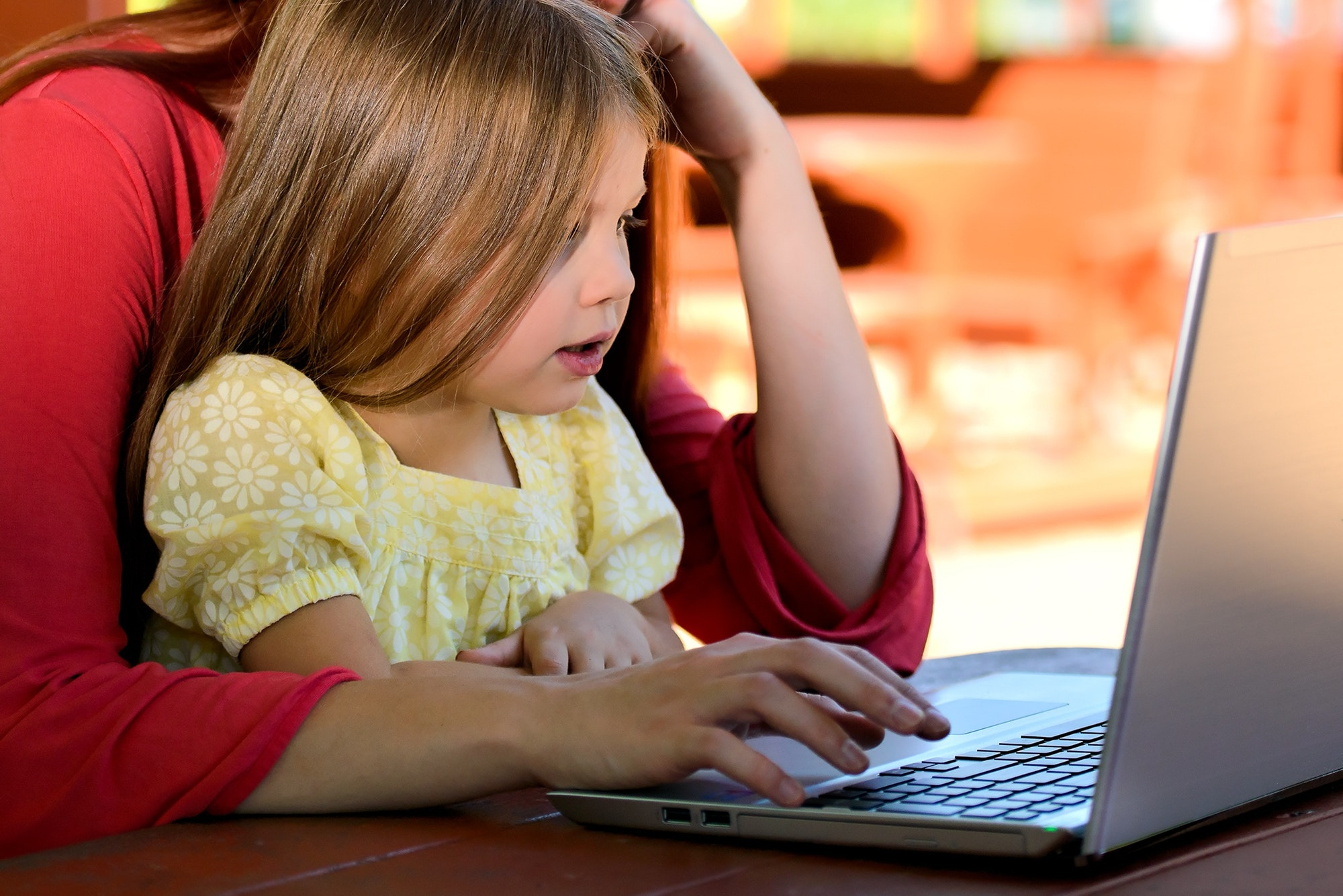 Little Girl Looking at Computer