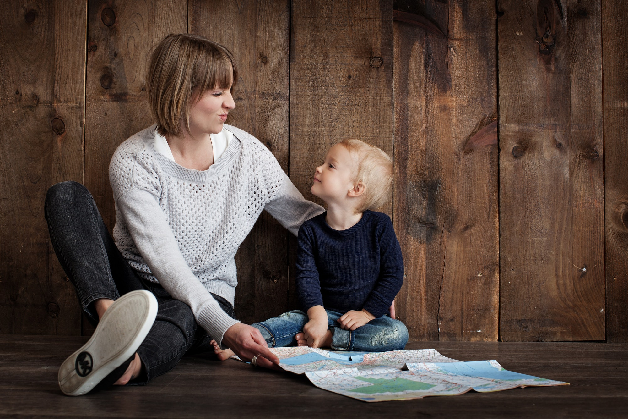 Mom and Little Boy with Map