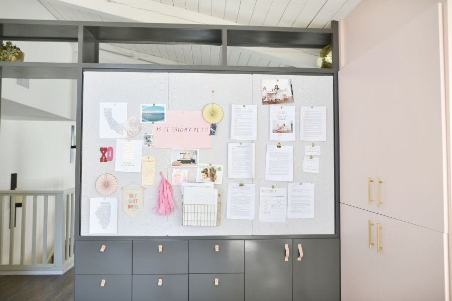 Blush and Gray Home Office - Style Me Pretty