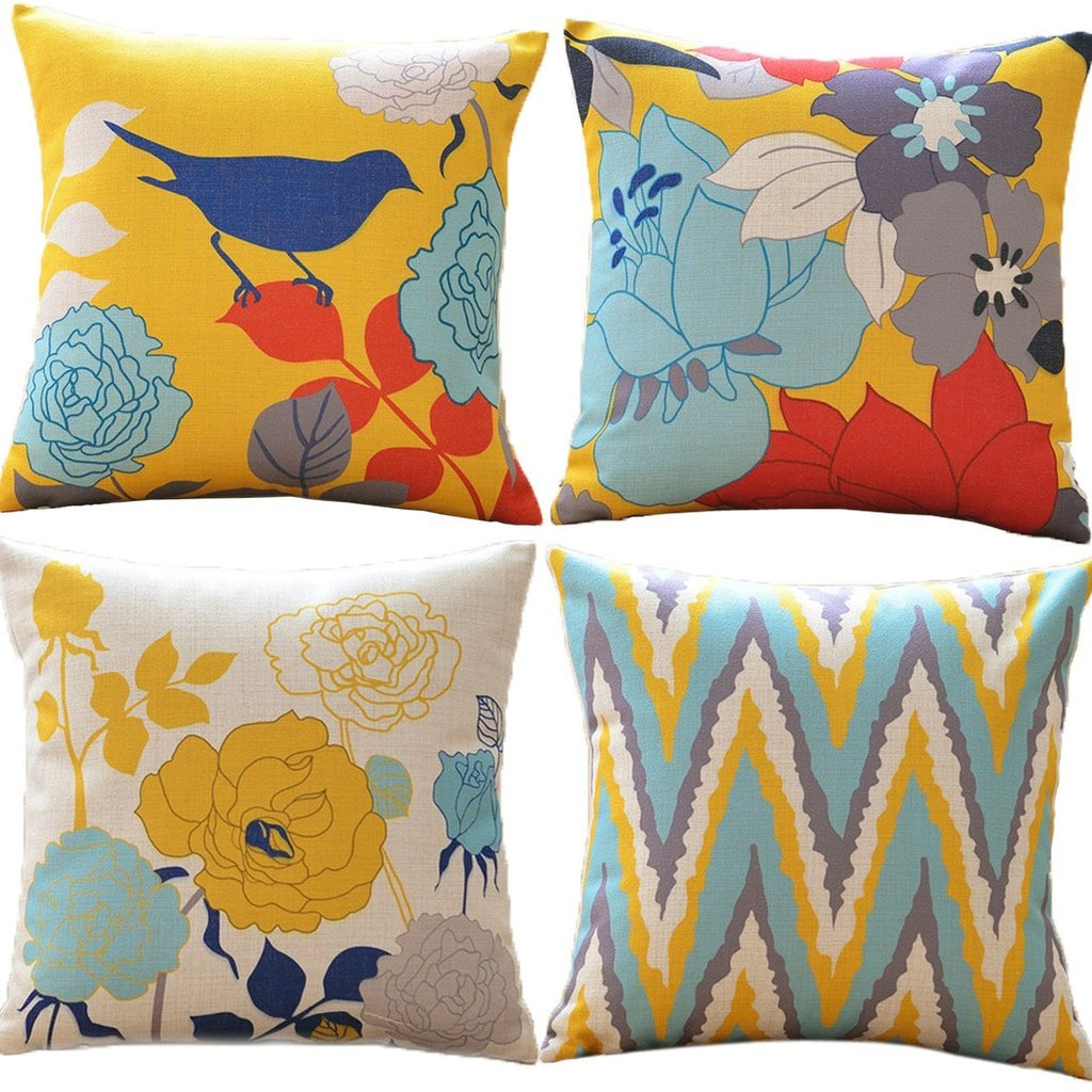 Birds and Flowers - 18in x 18in - Sykting Cotton Linen Throw Pillow Covers Set