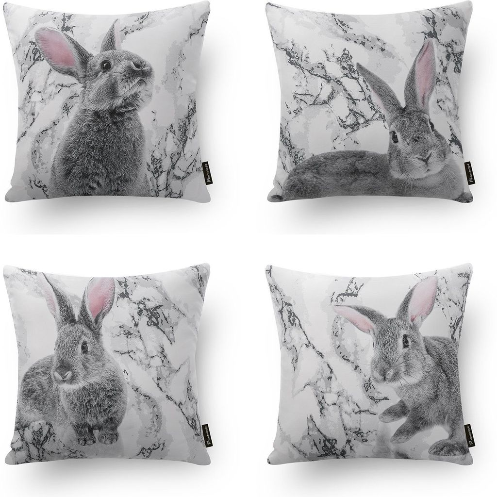 Easter Bunny - 18in x 18in - Polyester Cotton Blend Pillow Covers by Phantoscope
