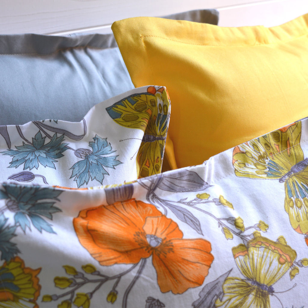 Flowers and Yellow Butterflies - Multiple Size - Cotton Pillow Covers by DisiriLab