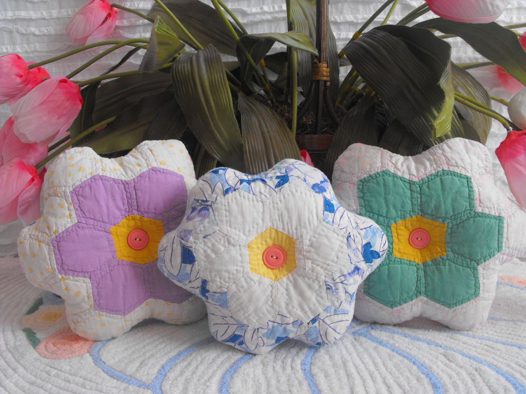 Grandmother Flower Garden Quilted Pillows by ellelilly