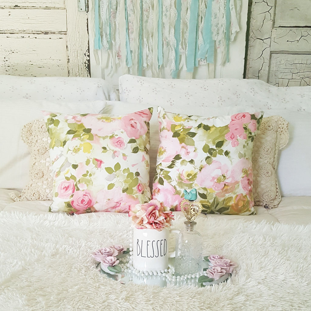 Pink Flowers - 16in x 16in - Shabby Chic Cottage Style Pillows by VictorianStation