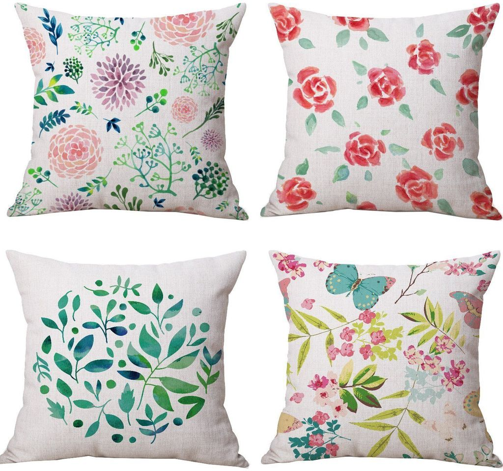 Spring Blossoms - 18in x 18in - Merry Pillows Throw Pillow Cover Set
