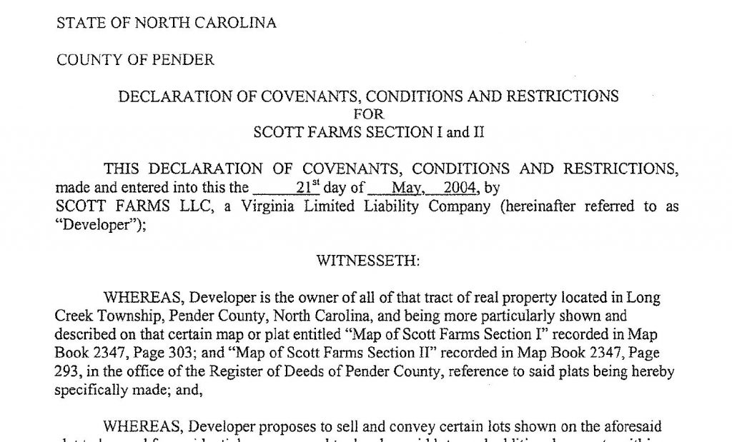 Example Restrictive Covenants